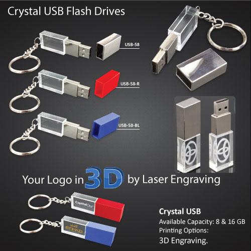 3D Crystal Keychain USB Flash Drives