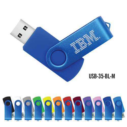 Blue Swivel USB Flash Drives 35-BL