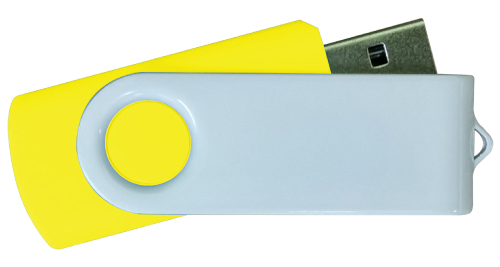 4GB White Metal with Yellow Plastic USB