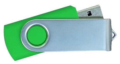 Matt Silver Swivel USB 4GB - Green