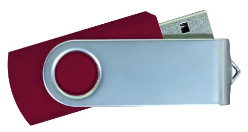 Matt Silver Swivel USB 4GB - Maroon