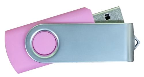 Matt Silver Swivel USB 4GB - Pink