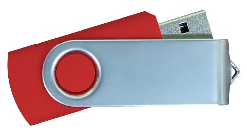 Matt Silver Swivel USB 4GB - Red
