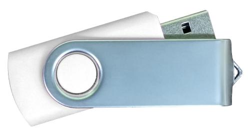 Matt Silver Swivel USB 4GB - White