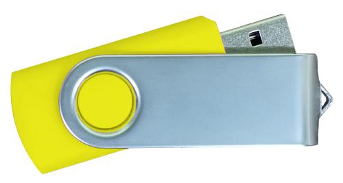 Matt Silver Swivel USB 4GB - Yellow
