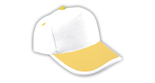 Cotton Caps, White & Yellow Color - 308