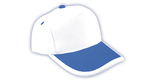 Cotton Caps White and Royal Blue Color - 309