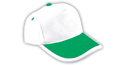 Cotton Caps White and Green Color - 313